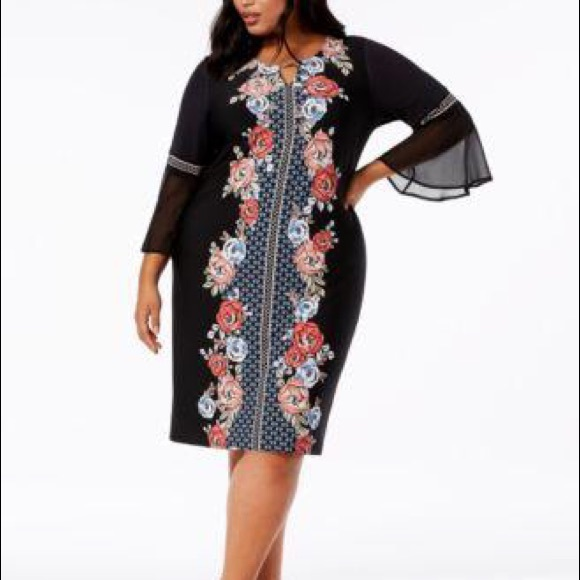 JM Collection Dresses & Skirts - 🆕 JM Collections Printed Bell Sleeve Dress